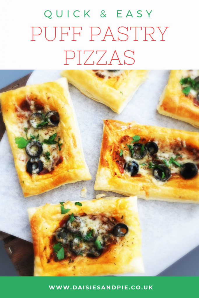 "puff pastry pizzas. text ""quick and easy puff pastry pizzas"""