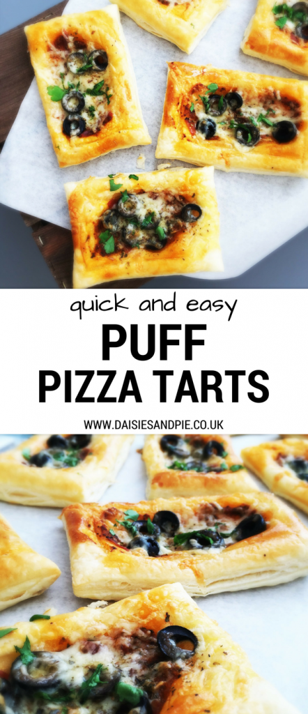 Easy puff pizza tart recipe, quick pizza recipe perfect for school night dinner, game day snacks