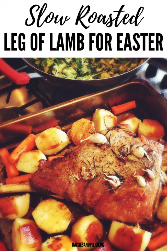 """slow roasted leg of lamb in a roasting tin with potatoes and carrots. Text overlay reads """"slow roasted leg of lamb for easter"""""""