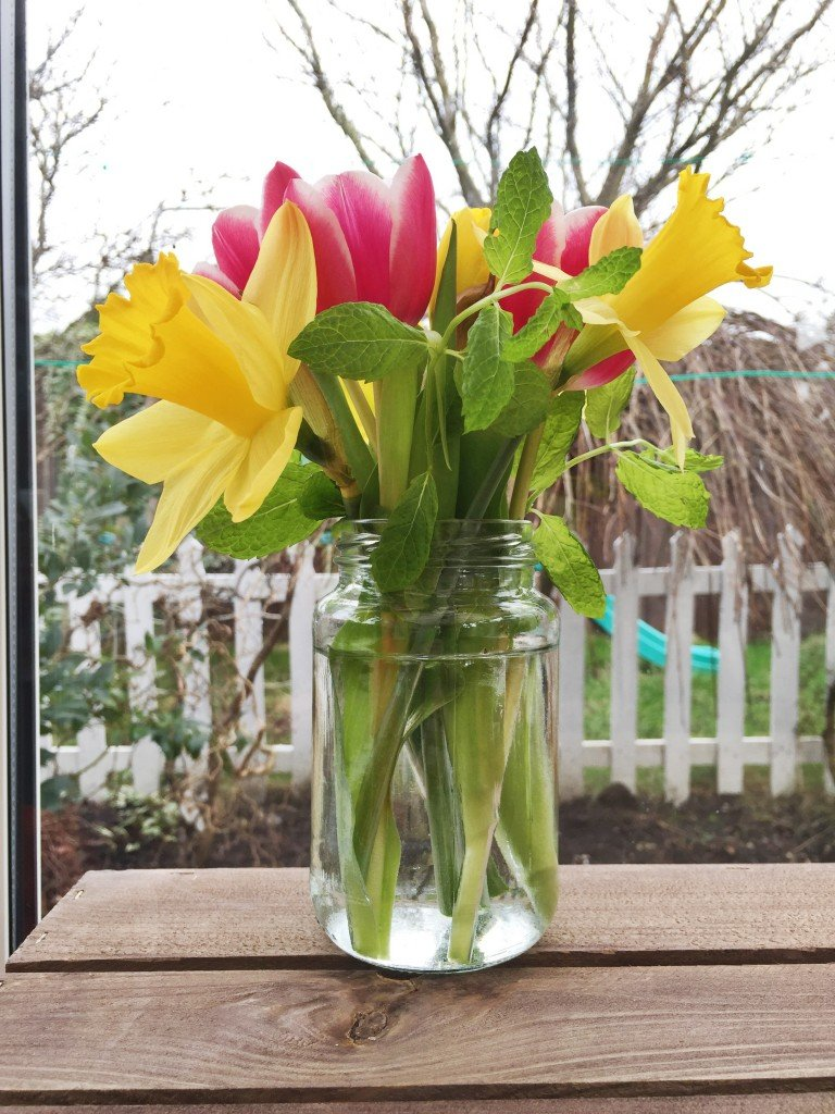 jam jar filled with spring flowers - daffodils, pink tulips and sprigs of garden mint
