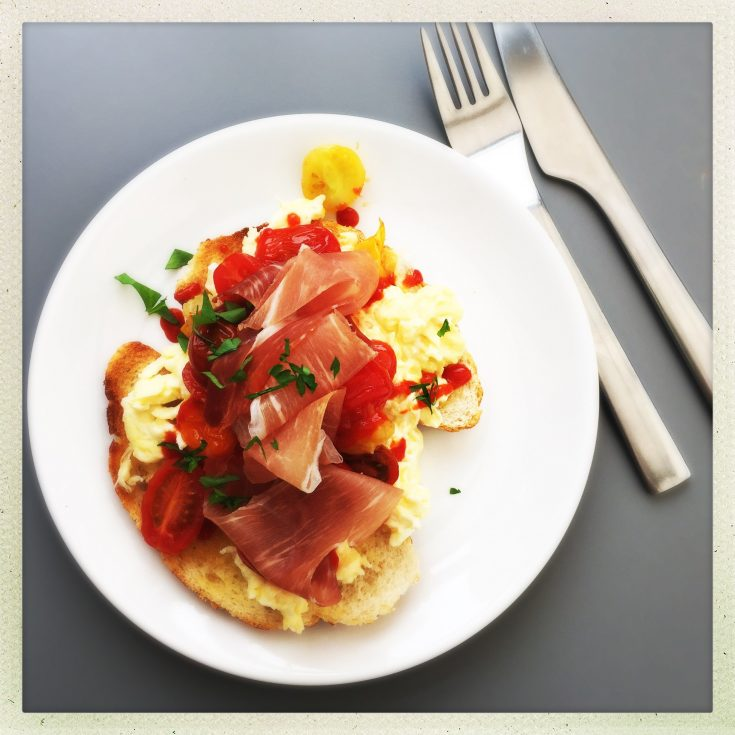 tiger bread with eggs and parma ham, light brunch recipes, easy family food from daisies and pie