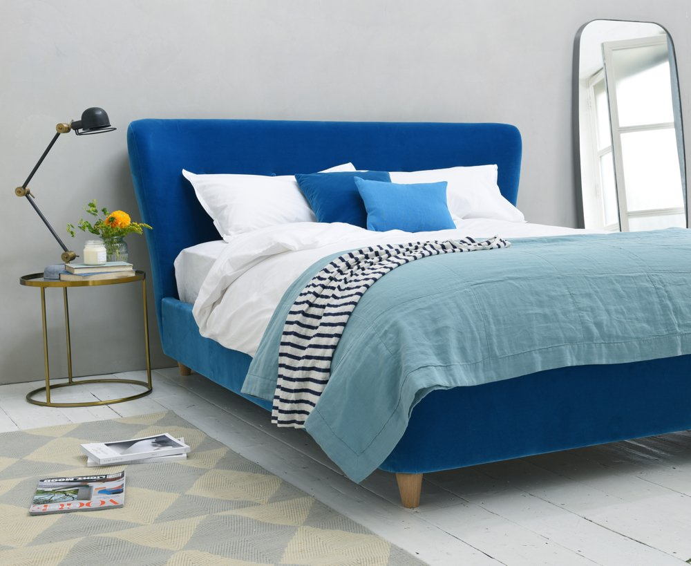 loaf smoke bed in teal blue plush velvet, add a pop of colour, spring 2016 interiors, home style from daisies and pie