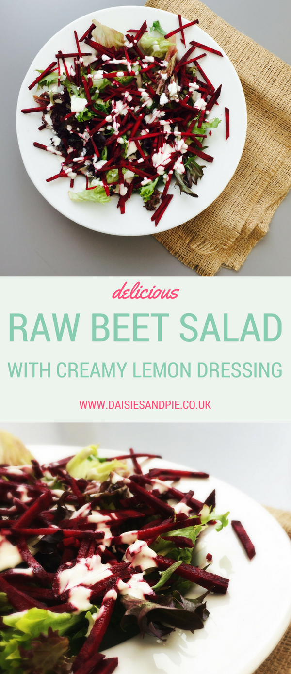 Raw beet salad with creamy lemon dressing, beetroot salad recipe, healthy side dish recipes