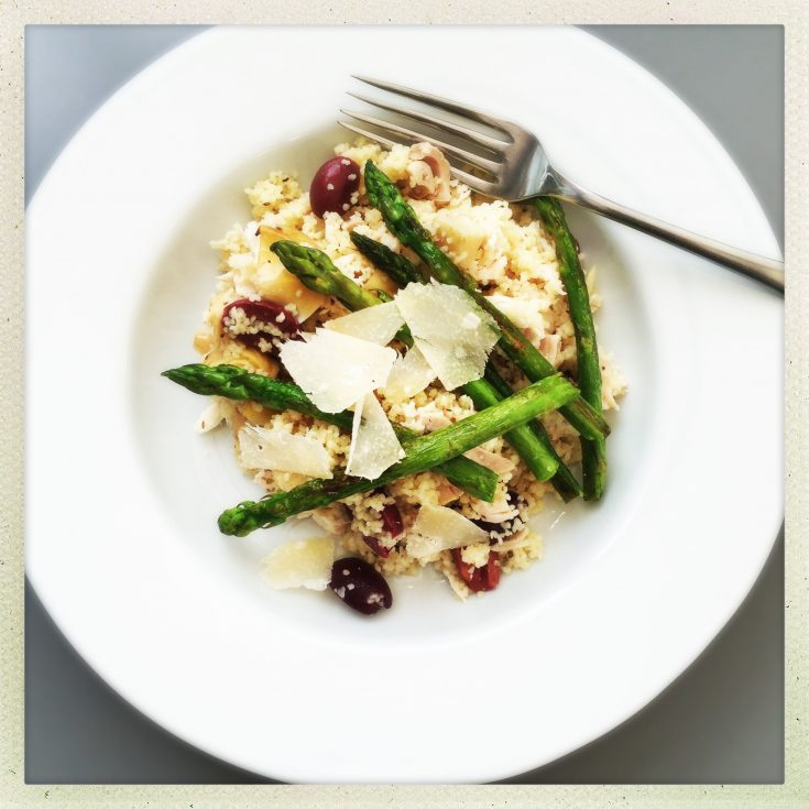 chicken and asparagus cous cous salad, what to do with leftover roast chicken, easy chicken salad recipe, easy couscous recipe, easy family food from daisies and pie