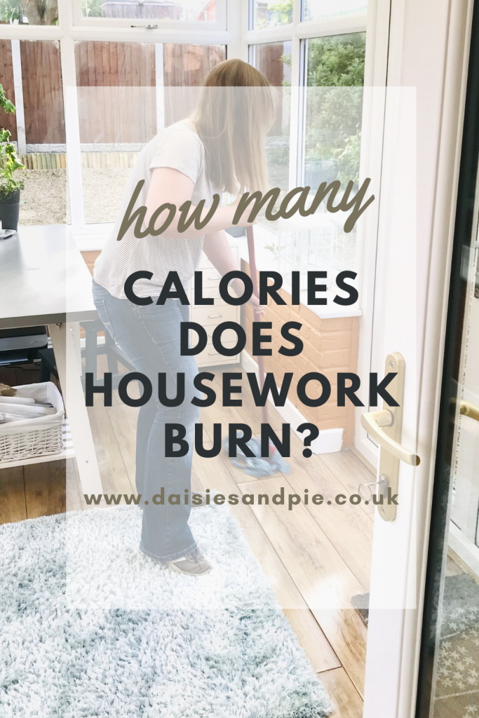 """woman mopping the floor in the conservatory. text overlay """"how many calories does housework burn? www.daiseisandpieco.uk"""""""