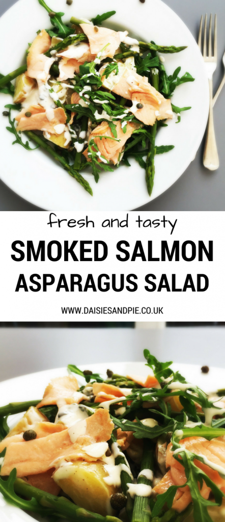 "two images one from above and one from the side of a white plate with smoked salmon and asparagus salad. Text overlay saying ""fresh and tasty smoked salmon asparagus salad"""