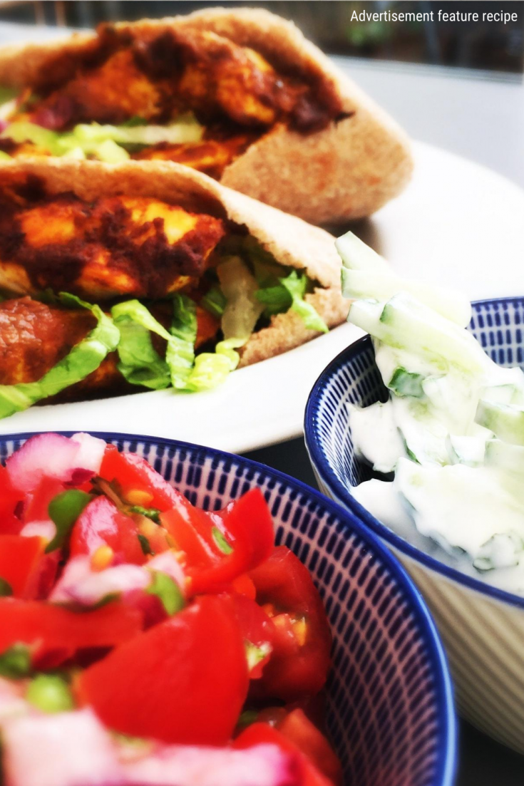 healthy chicken kebab recipe served in wholemeal pitta breads with fresh salads and herbs.