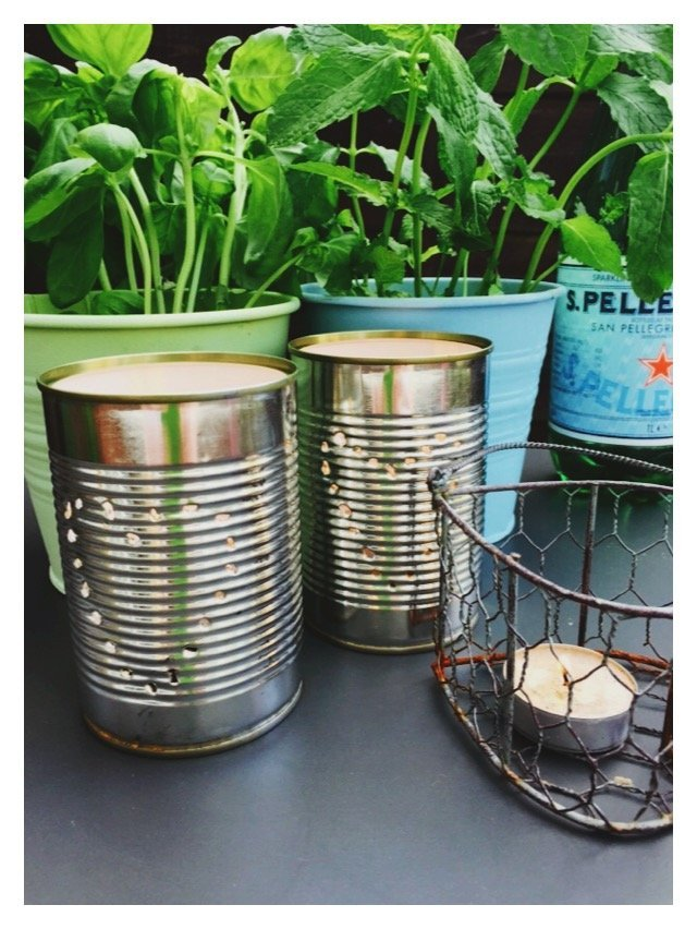 how to make tin can lanterns, tin can tea light holders, quick garden lanterns, tin can candle holders, quick craft project