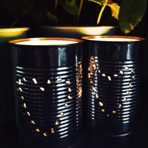 home made tin can lanterns with hearts on