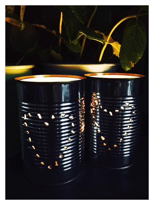 tin can tea light holders, how to make tin can lanterns, quick craft project, camping lanterns