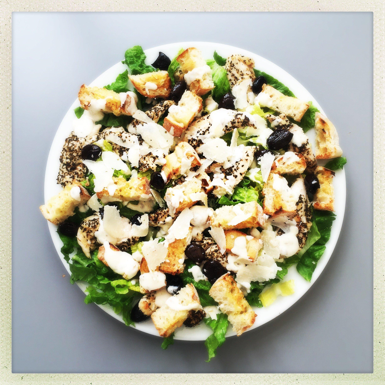 chicken caesar salad with chunky garlicky bruschetta croutons and creamy homemade caesar dressing