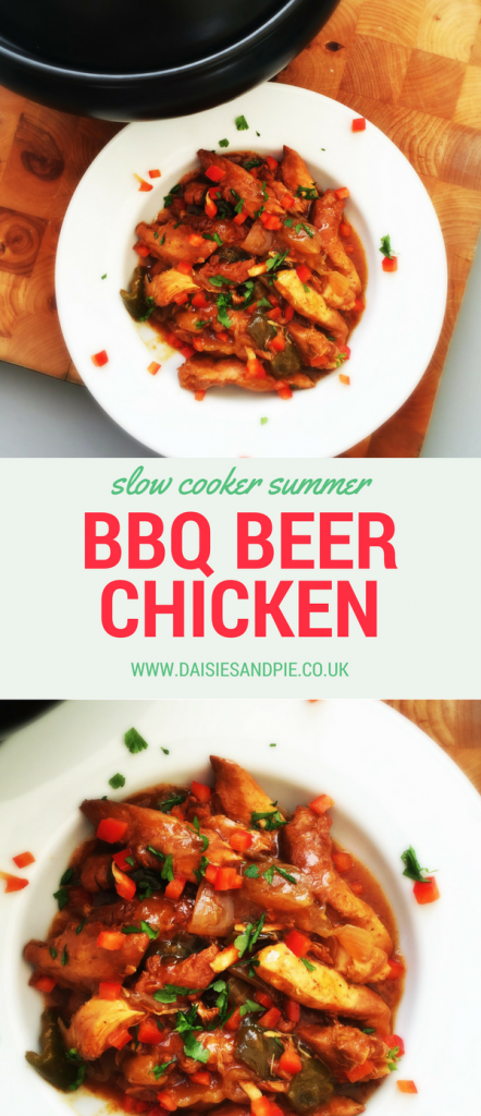 Summer slow cooker bbq beer chicken, summer crockpot recipes, easy chicken dinner recipes