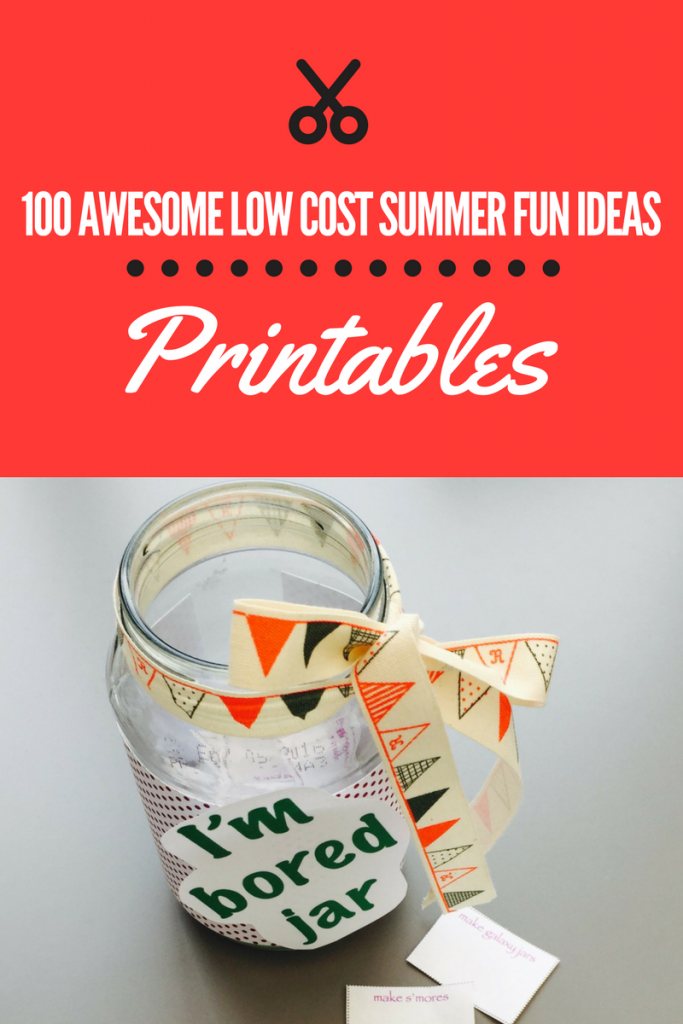 summer bored jar, ultimate list of low cost summer activities for kids,