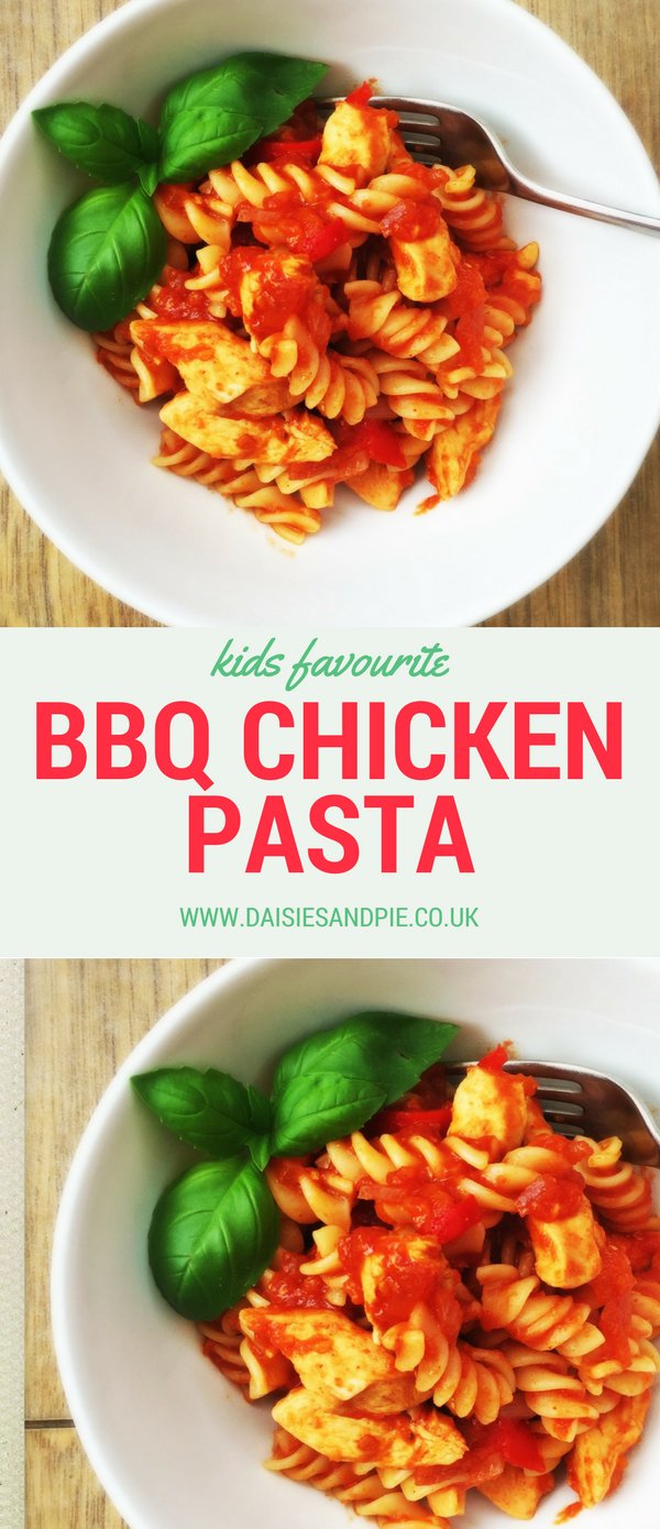 BBQ chicken pasta, kid dinner recipes, easy midweek meal, pasta recipes