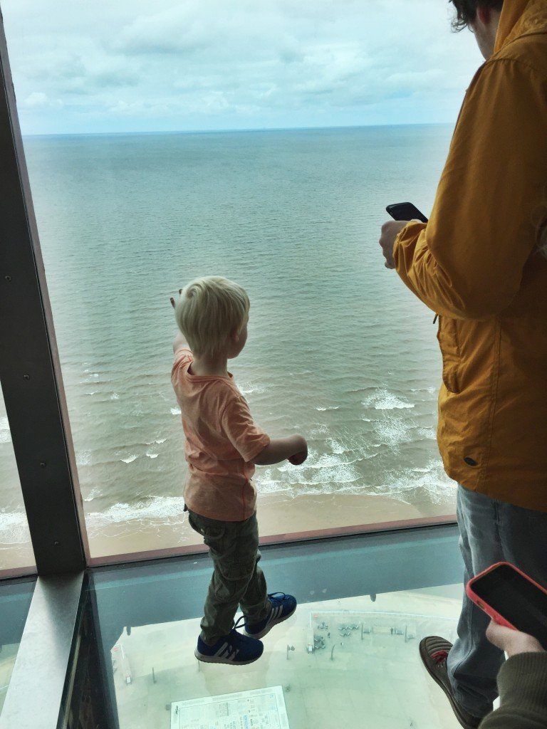 Blackpool Tower Eye skywalk, view from the top of Blackpool Tower, days out for kids lancashire