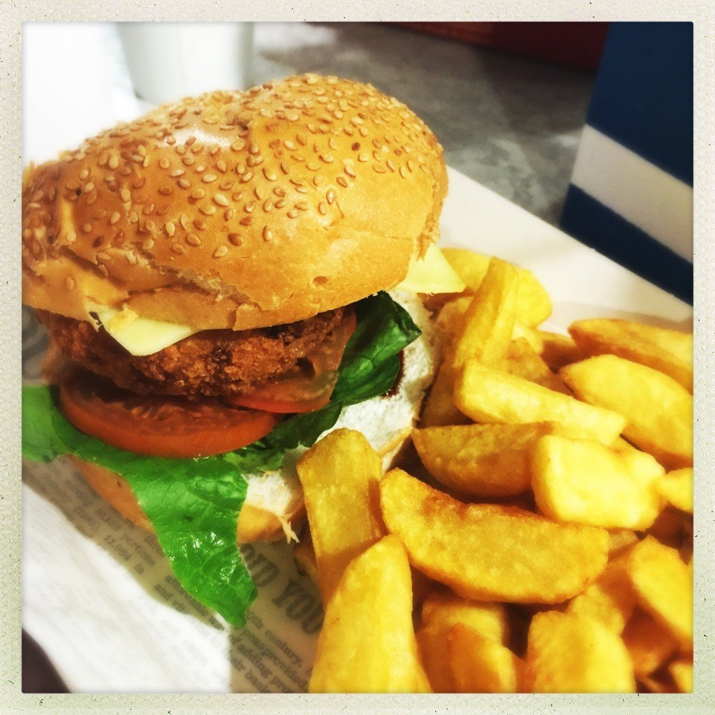chicken burger and chips, harry ramsdens chicken burger, places to eat in blackpool tower