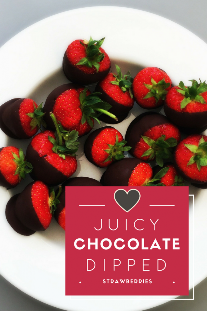 "white plate filled with juicy chocolate dipped strawberries. Text overlay saying ""juicy chocolate dipped strawberries"""