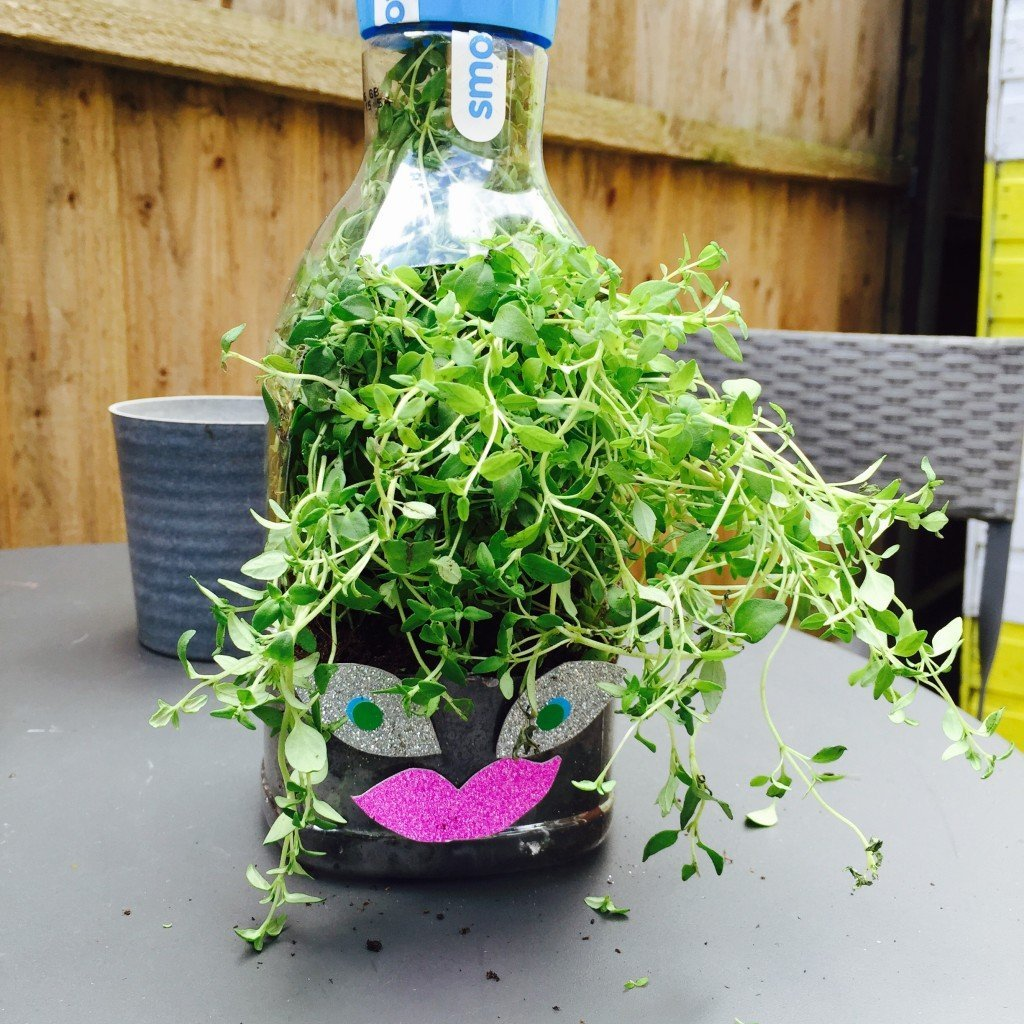 juice bottle herb planters, kids gardening activities, kids summer activities, herb garden for kids
