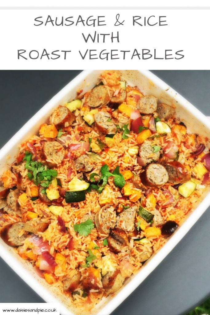 """sausage and rice recipe with roast vegetables. Text """"easy comfort food - sausage and rice with vegetables"""