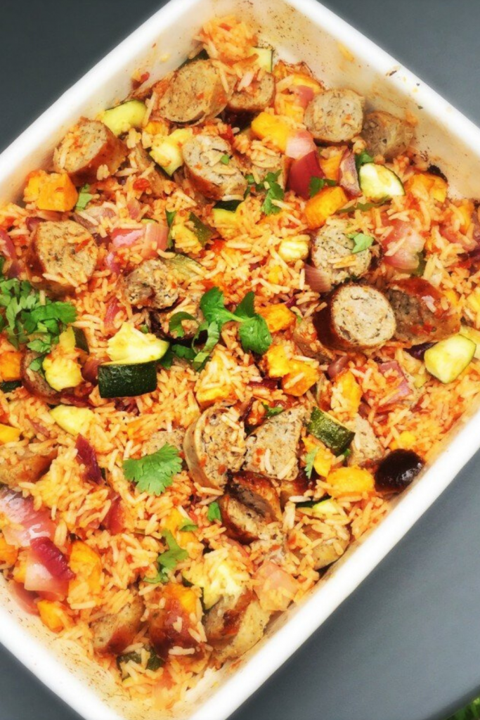 sausage and rice recipe with roast vegetables.