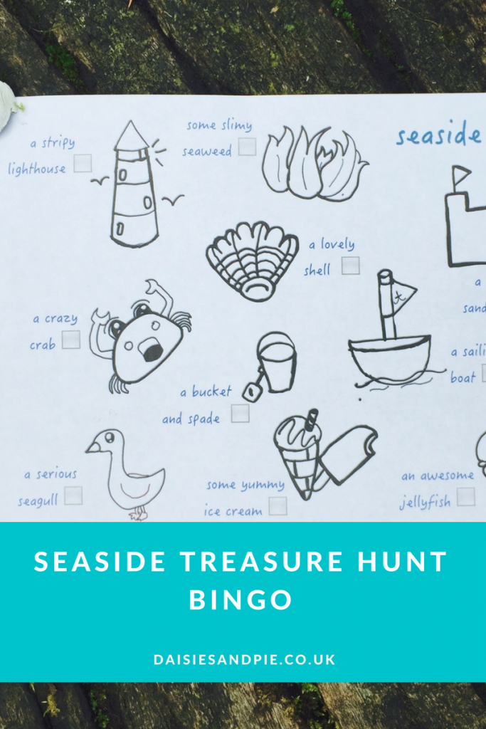 Seaside treasure hunt bingo, seaside activities for kids, kids summer activities