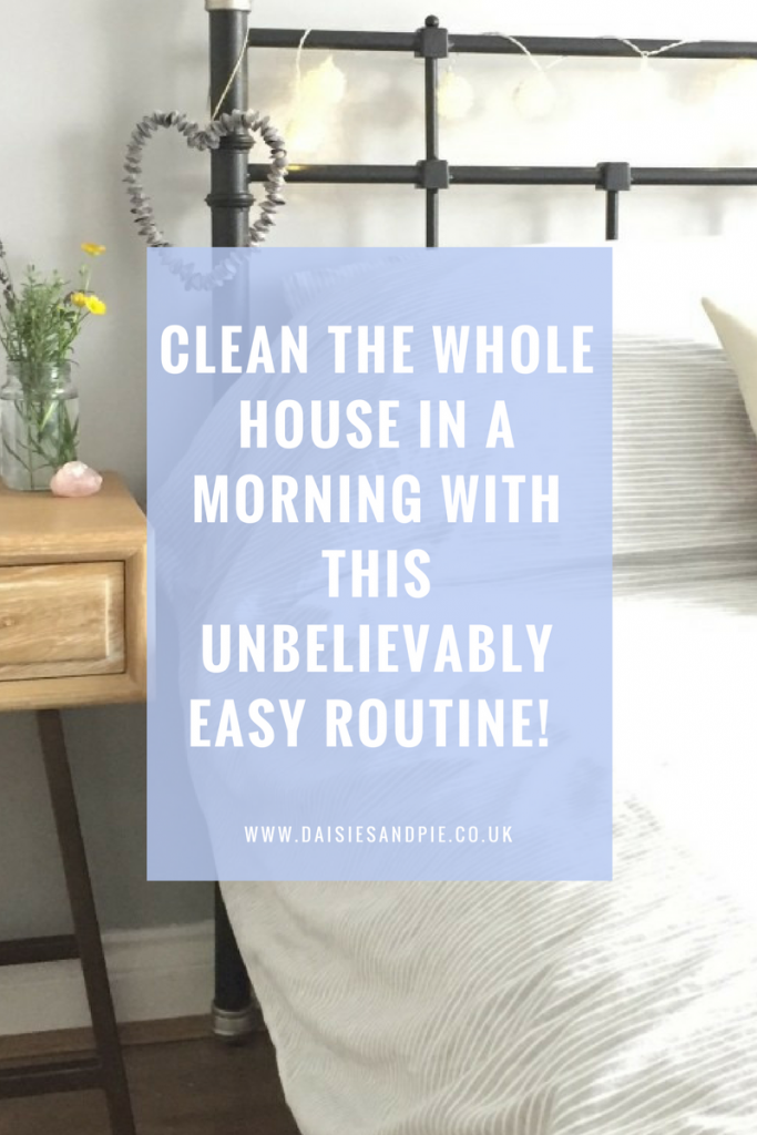 "Clean and tidy bedroom. Text ""Clean your whole house in just a morning with this unbelievably easy routine"""