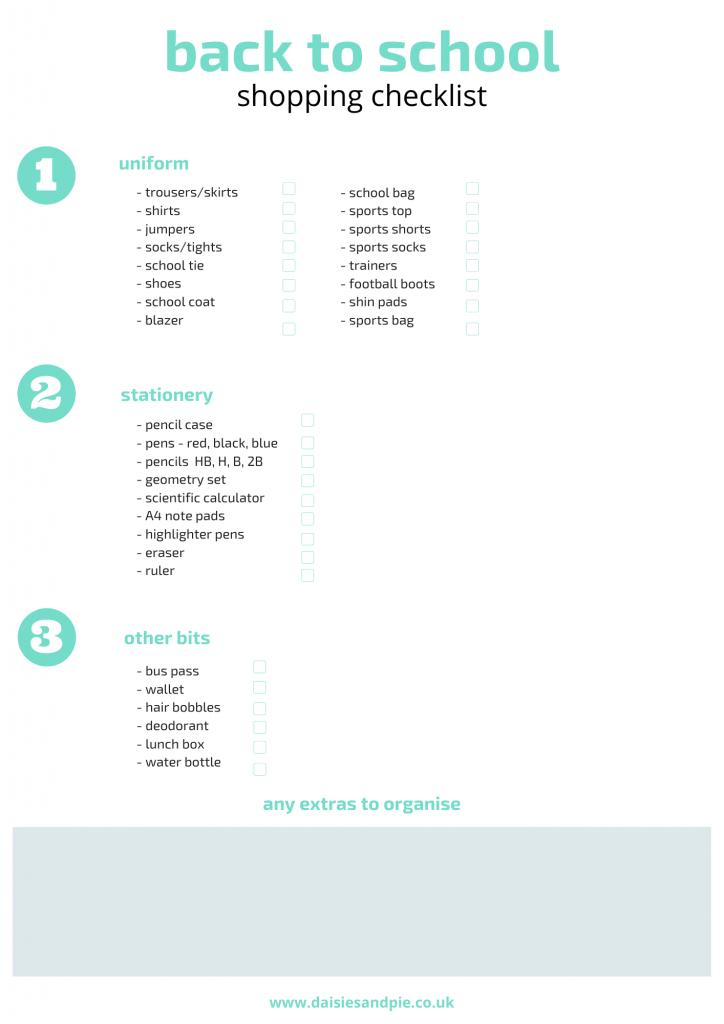 printable back to school checklist