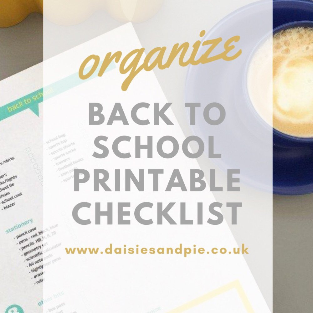 back to school checklist printable on a grey desk. Text overlay