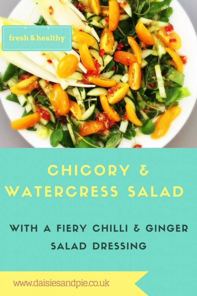 chicory and watercress salad, things to make with watercress, easy family food from daisies and pie