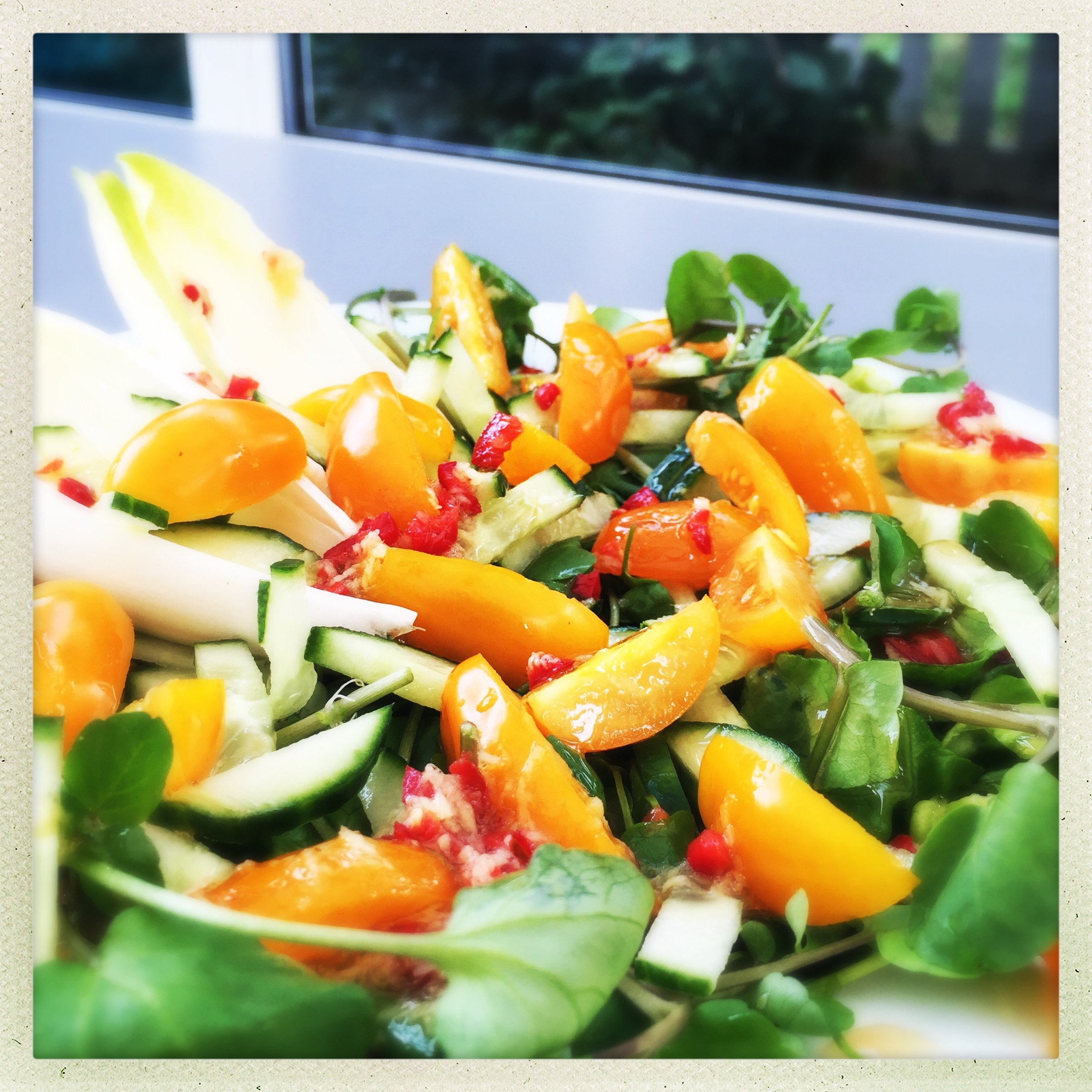 Watercress and chicory salad with fiery dressing