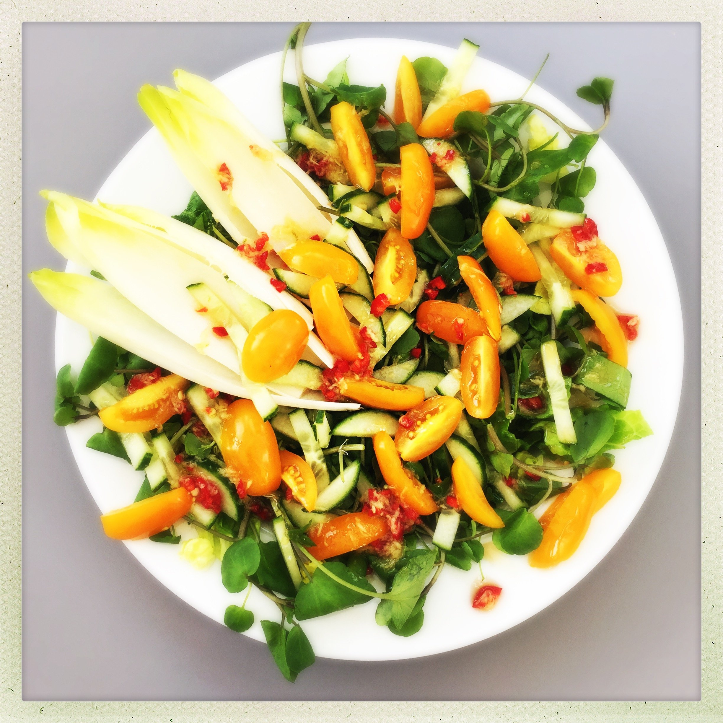chicory and watercress salad, chilli and ginger salad dressing, salad recipe, easy family food from daisies and pie