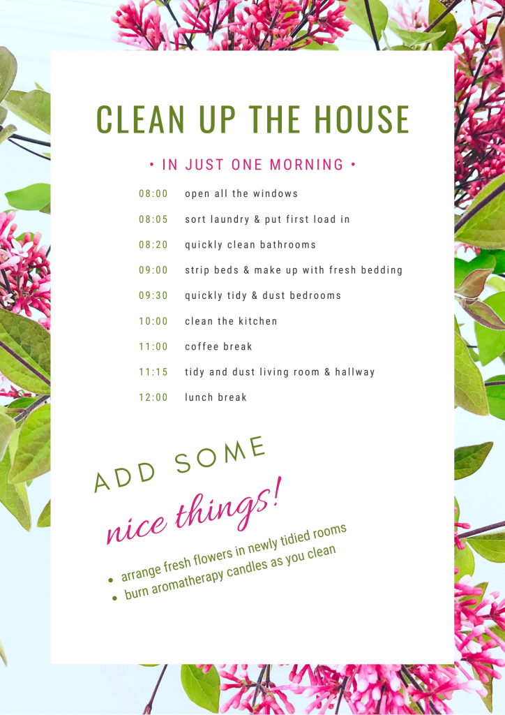 printable cleaning checklist for cleaning the entire house in just one morning