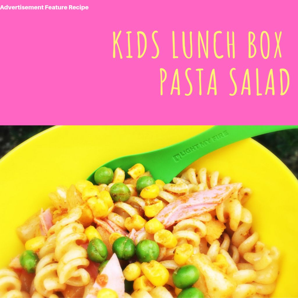 "kids pasta salad with ham, peas sweetcorn and pineapple. Text ""kids lunch box pasta salad"""