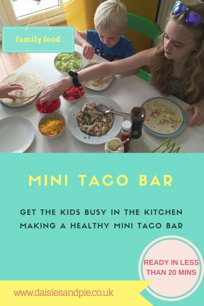 make a mini taco bar, power of frozen meal ideas, easy chicken taco recipe, iceland ready cooked chargrilled chicken, quick taco recipe, easy family food from daisies and pie