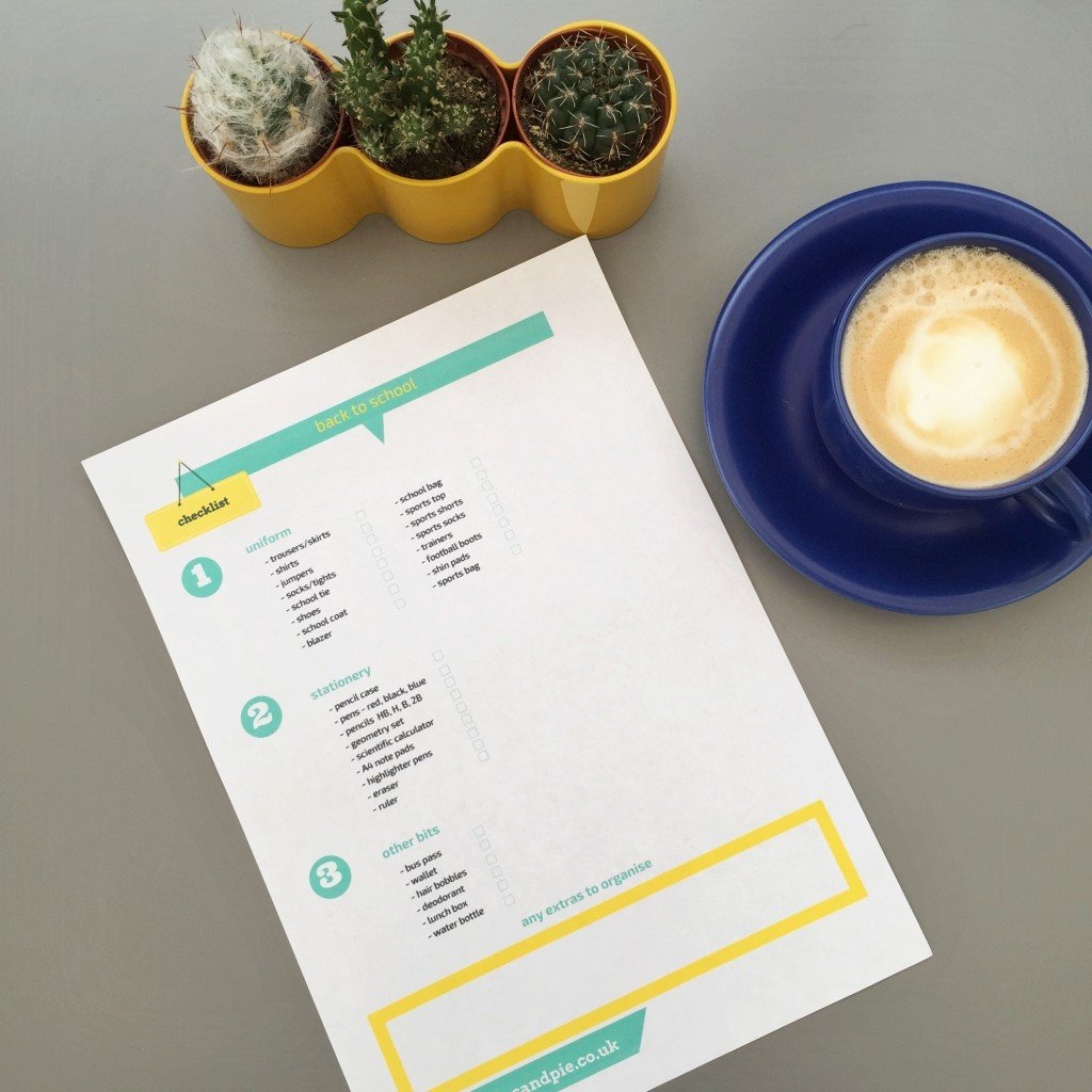 a printable back to school essentials check list alongside a cup of coffee and mini cactus