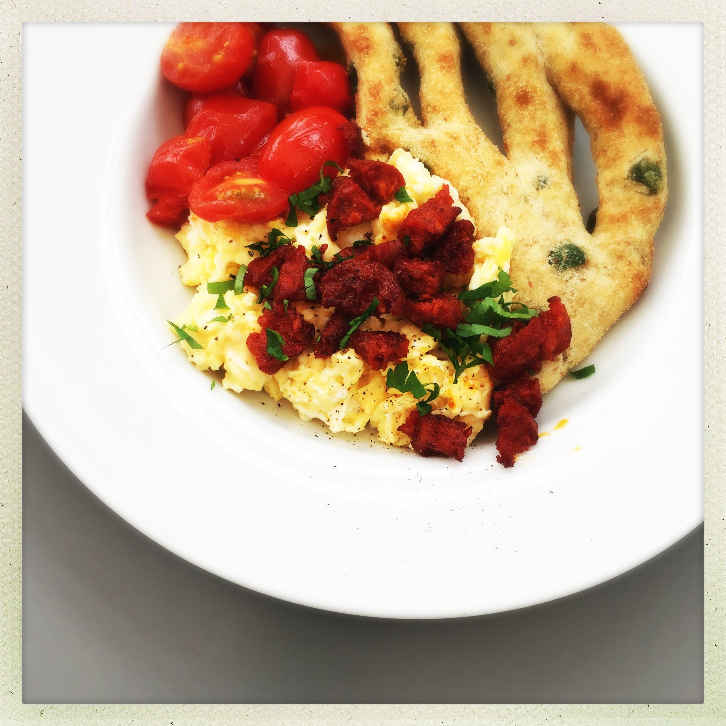 Scrambled egg with chorizo sprinkles