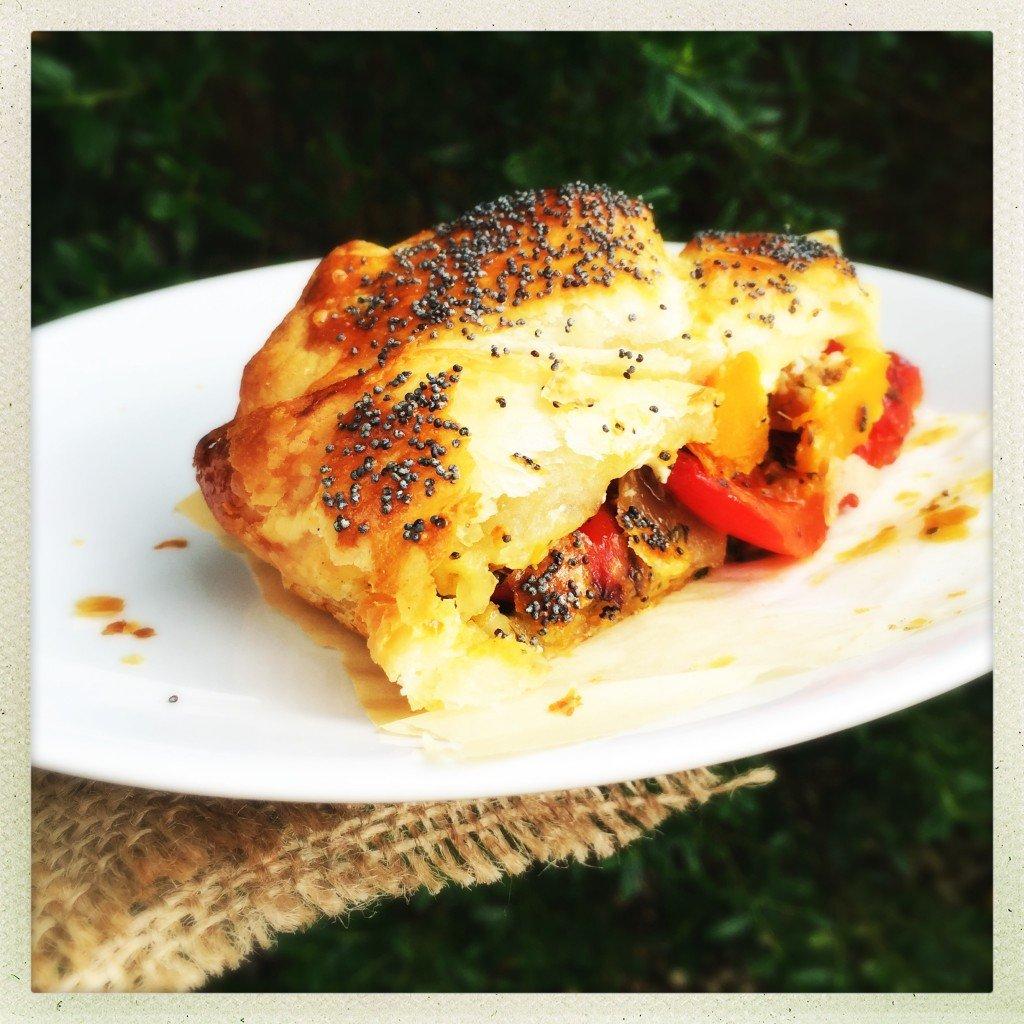 roast butternut squash and red pepper pie, tasty vegetarian pie recipe ...