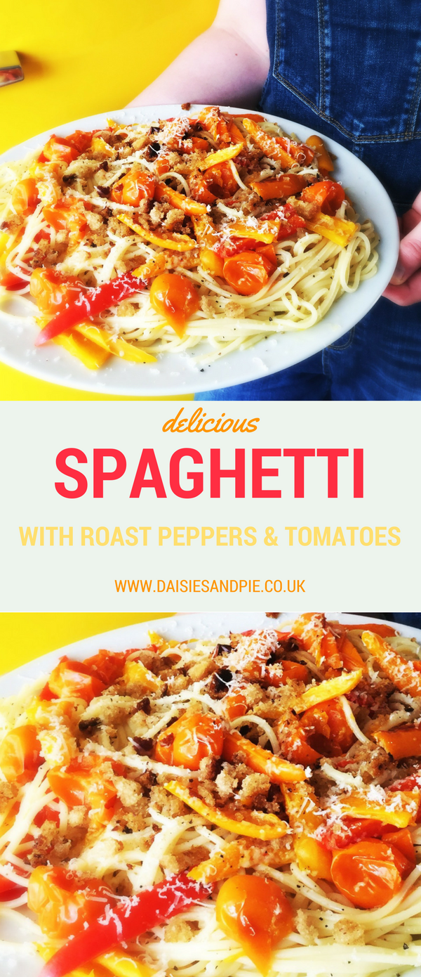 Spaghetti with roast peppers and tomatoes, vegetarian pasta recipe, quick pasta recipe, easy summer dinner ideas