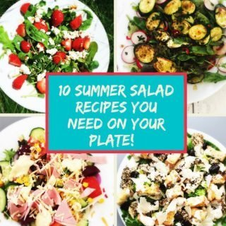 "Text ""summer salad ideas you need on your plate"" image of four salads - strawberry and feta salad, courgette and radish salad, loaded ham and cheese salad and a chicken caesar salad"