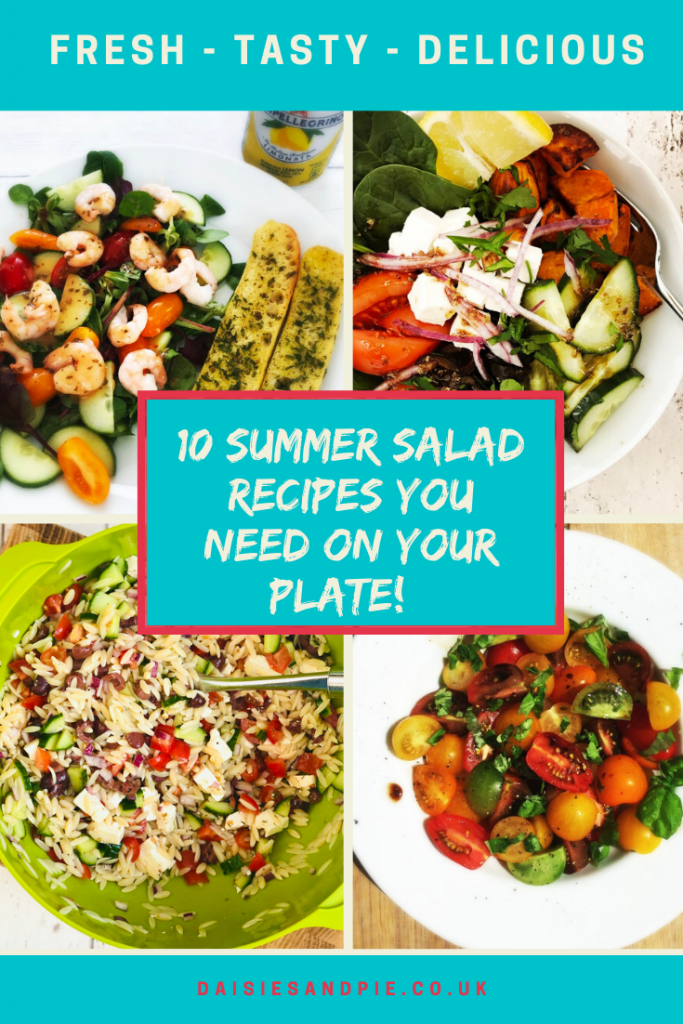 "Text ""summer salad ideas you need on your plate"" images of four salads - spicy prawn salad with garlic baguettes, greek salad bowl, greek orzo pasta salad and italian tomato salad with olive oil and basil"