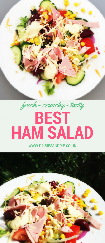 "ham salad platter. Text overlay saying ""fresh, crunch tasty best ham salad"""