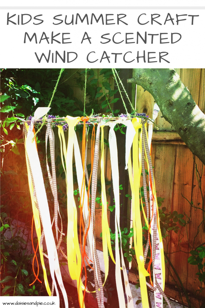 """kids wind catcher craft hanging in the trees with ribbons and lavender blowing in the wind. Text """"kids summer craft - make a wind catcher"""""""