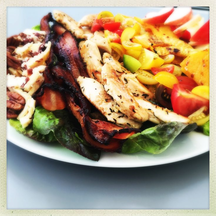 autumn cobb salad recipe, chicken and bacon recipe, easy family food from daisies and pie