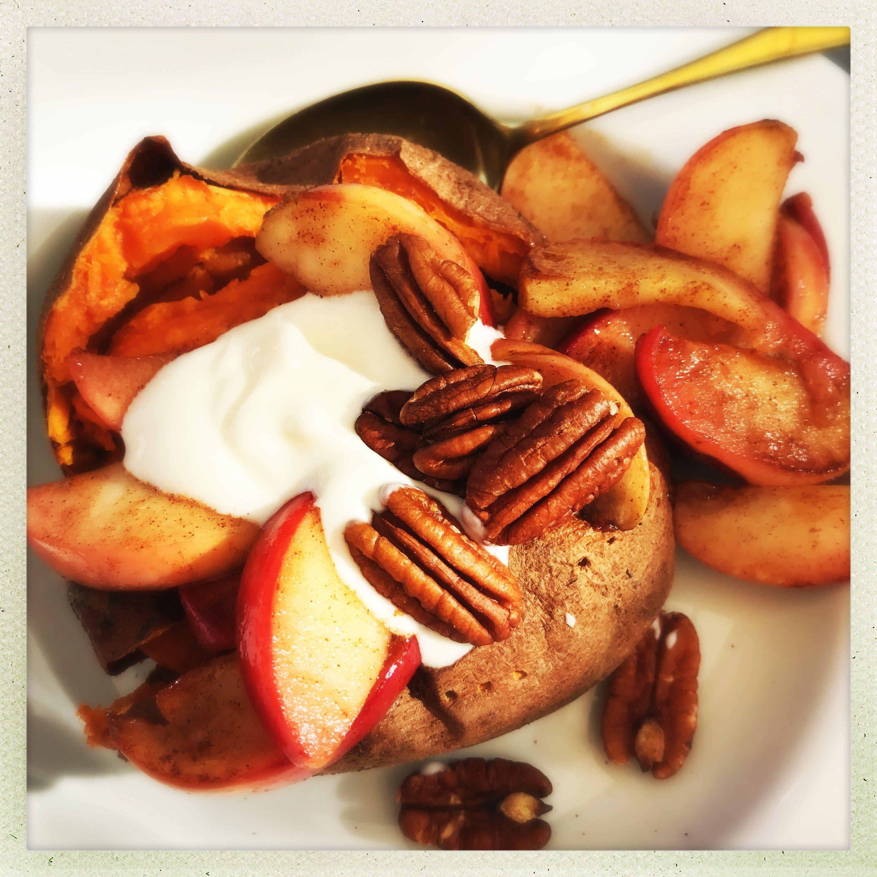 Baked sweet potato with cinnamon apples