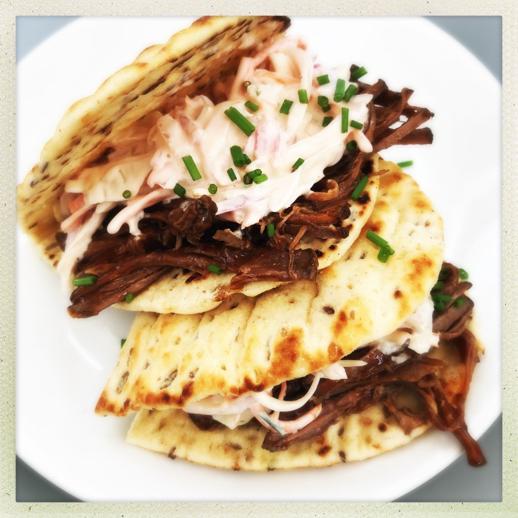 bbq brisket with coleslaw stuffed flatbreads, bbq brisket recipe, pulled brisket recipe, take to work lunch ideas, easy family food from daisies and pie