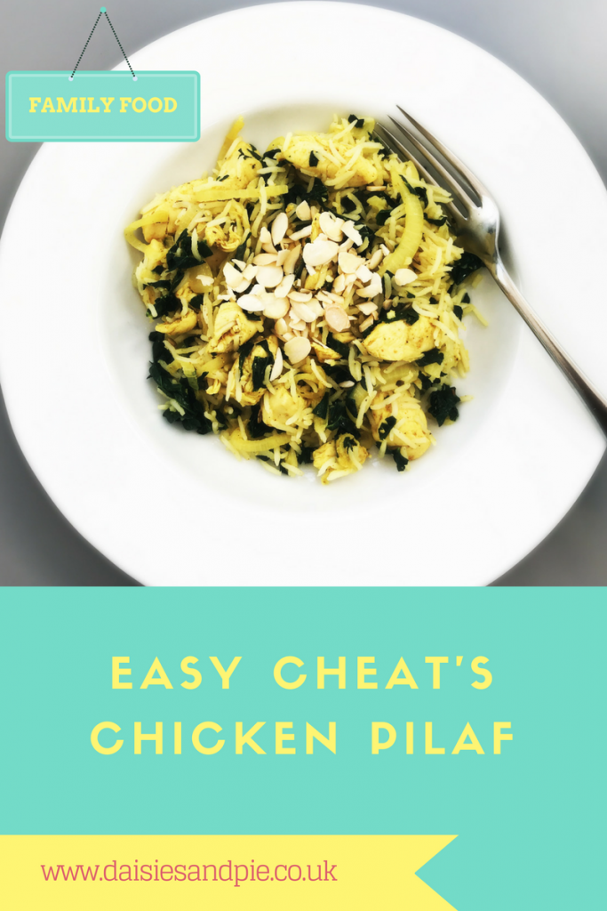 quick chicken pilaf recipe, easy family food from daisies and pie