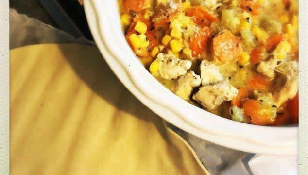 chicken and sweetcorn pie recipe, easy family dinner recipe, chicken recipes