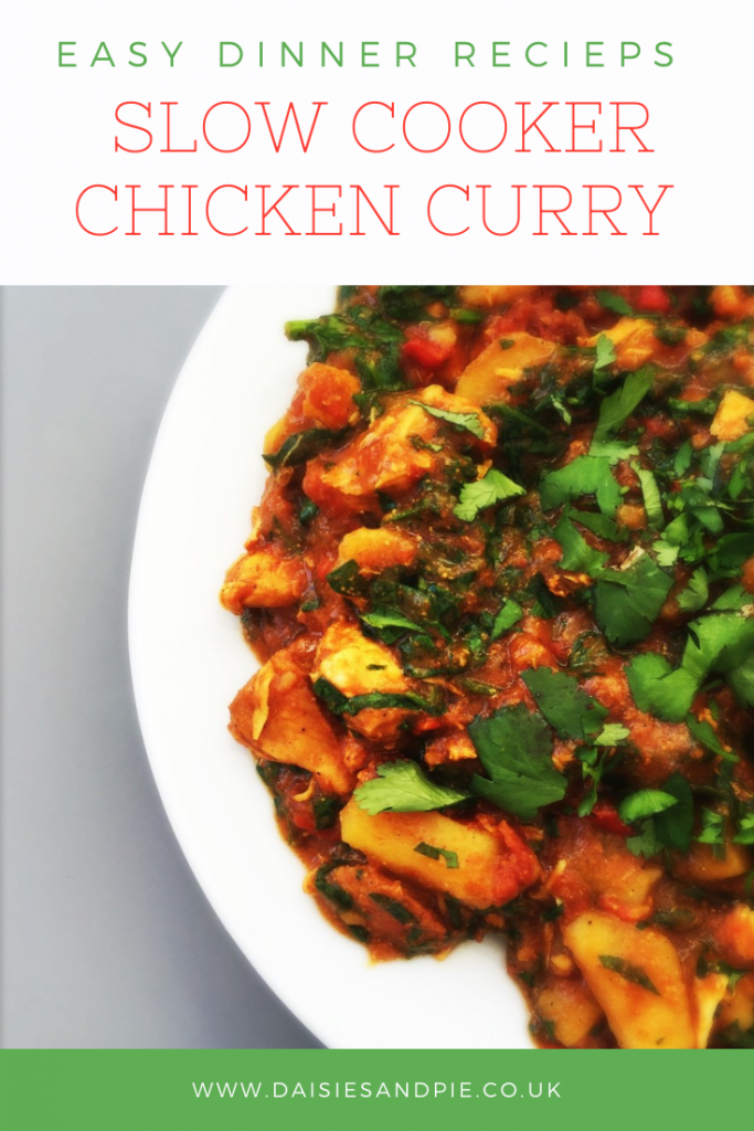 """white plate with homemade slow cooker chicken curry scattered with coriander. Text """"easy dinner recipes- slow cooker chicken curry"""""""