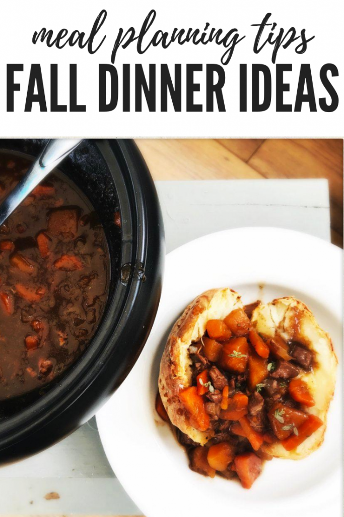 "slow cooker full of homemade lamb stew, oven baked potato filled with lamb stews. Text overlay ""meal planning tips - fall dinner ideas"""