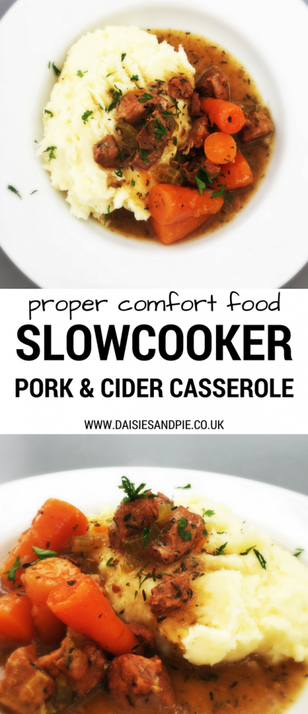 "white plate with mountain of mashed potato with slow cooker pork and cider casserole and baby carrots. Text overlay saying ""proper comfort food slow cooker pork and cider casserole"""